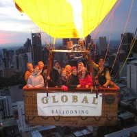 Belinda flying over Melbourne city with Global Ballooning