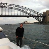 Cal cruising like a local on Sydney Harbour.