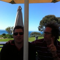 Wizza & Marty enjoying a beer and lunch in Portsea, Victoria